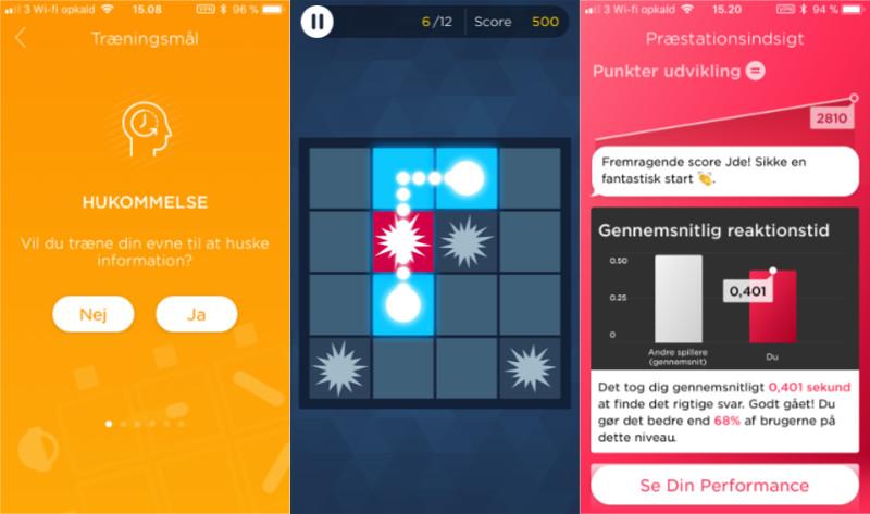 Et par screenshots fra hjernetrænings appen Peek. Her vises et valgt trænings mål, et minispil og en præstationsindsigt over ens udvikling.